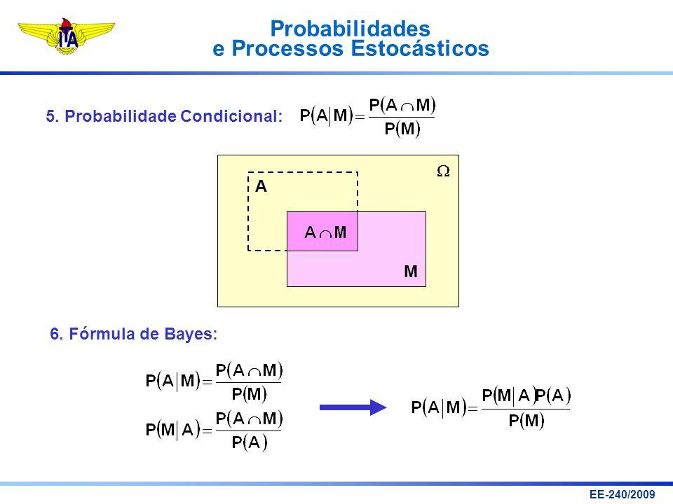 Probabilidades e Processos Estocásticos EE-240/2009 5. Probabilidade Condicional: A M 6. Fórmula de Bayes: