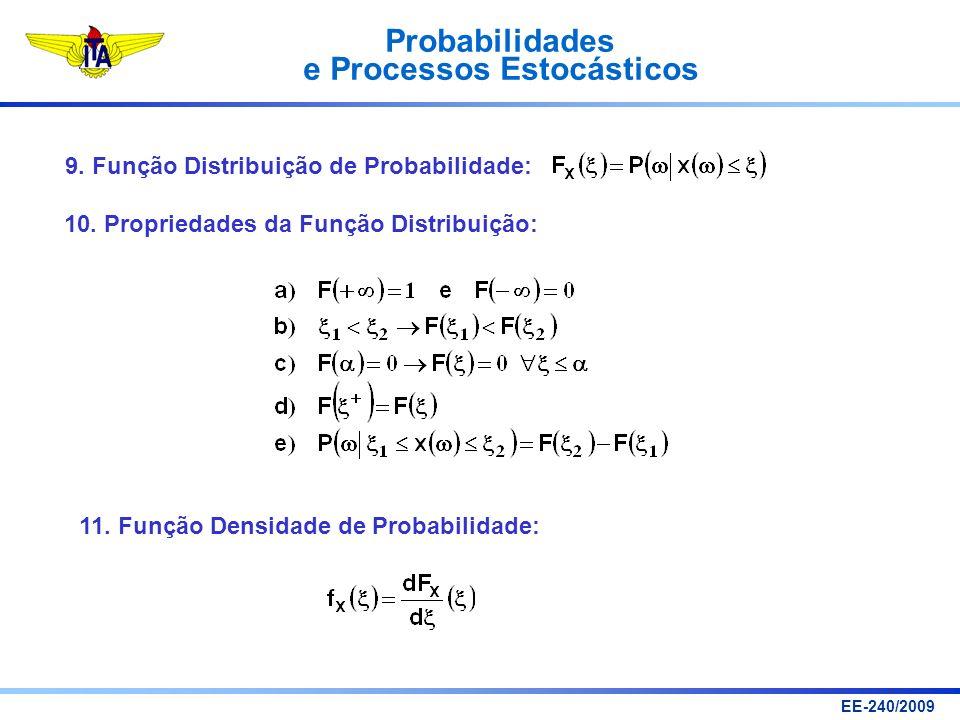 Probabilidades e Processos Estocásticos EE-240/2009 9. Função Distribuição de Probabilidade: 10. Propriedades da Função Distribuição: 11. Função Densi