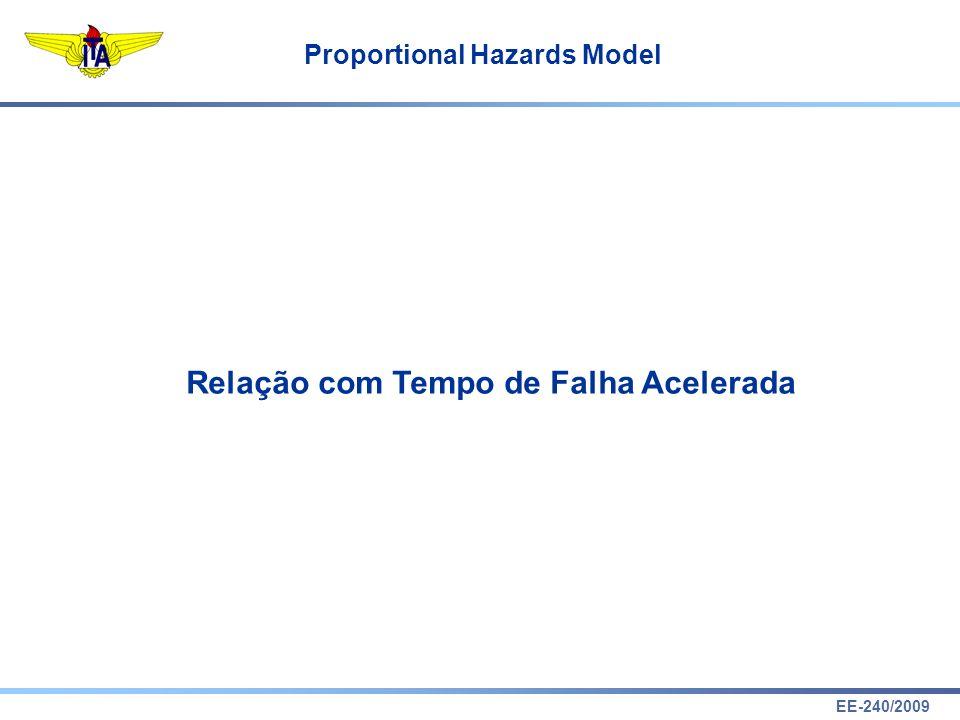 EE-240/2009 Proportional Hazards Model Relação com Tempo de Falha Acelerada