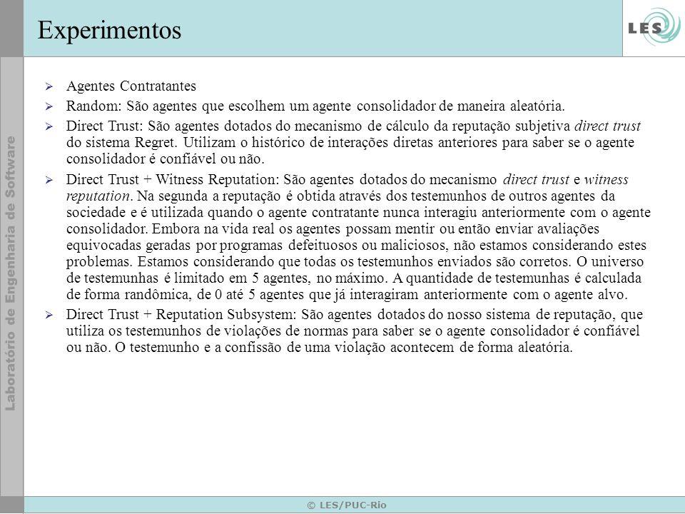 © LES/PUC-Rio Experimentos Os agentes consolidadores variaram de 36 até 576.