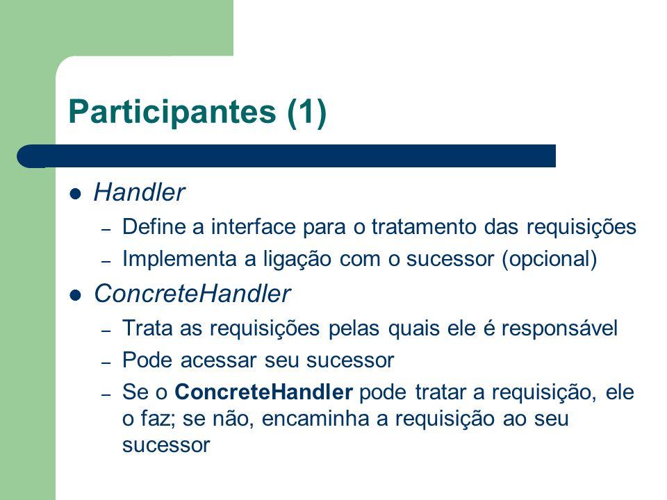 Participantes (2) Client – Inicia a requisição a um objeto ConcreteHandler da cadeia