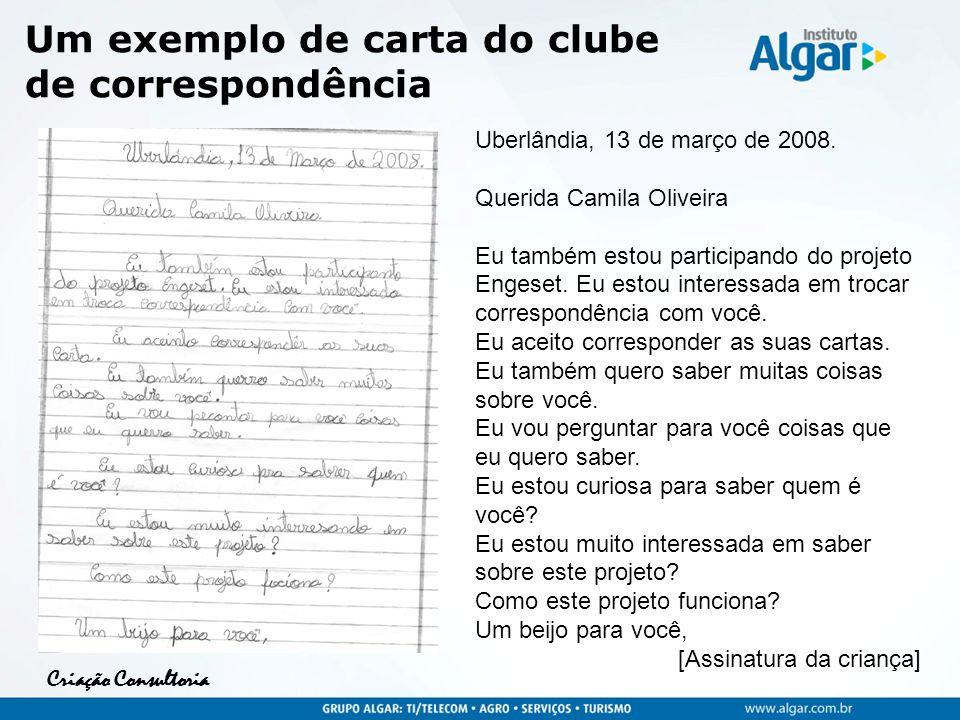 Criação Consultoria Um exemplo de carta do clube de correspondência Uberlândia, 13 de março de 2008. Querida Camila Oliveira Eu também estou participa