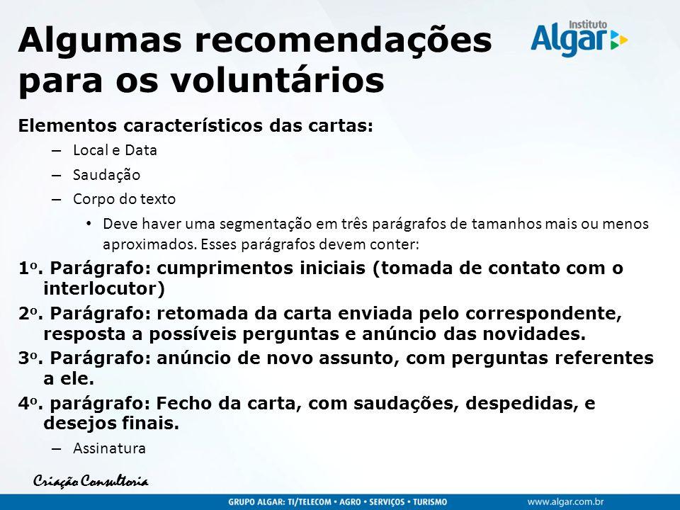 Criação Consultoria Algumas recomendações para os voluntários Elementos característicos das cartas: – Local e Data – Saudação – Corpo do texto Deve ha