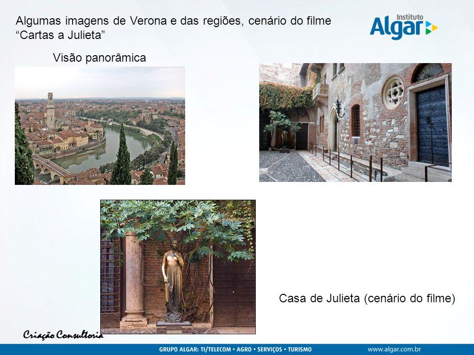 Criação Consultoria Algumas imagens de Verona e das regiões, cenário do filme Cartas a Julieta Visão panorâmica Casa de Julieta (cenário do filme)