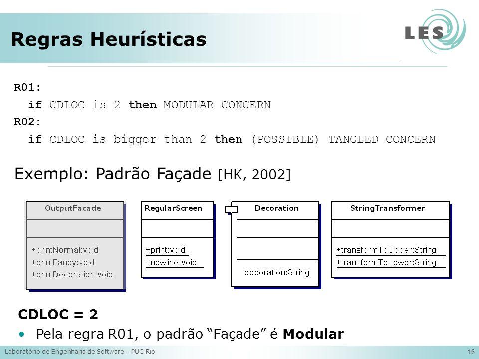 Laboratório de Engenharia de Software – PUC-Rio 16 Regras Heurísticas R01: if CDLOC is 2 then MODULAR CONCERN R02: if CDLOC is bigger than 2 then (POSSIBLE) TANGLED CONCERN Exemplo: Padrão Façade [HK, 2002] CDLOC = 2 Pela regra R01, o padrão Façade é Modular