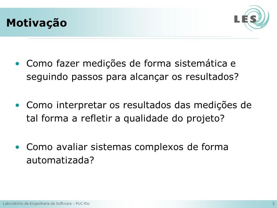 Laboratório de Engenharia de Software – PUC-Rio 14 Exemplo de Métricas Interesse Sombreado: Papel Observer (Observer) CDC = 2 CDLOC = 4 NOAconcern = 0 NOOconcern = 1 + 1 LOCconcern = 3 + 4 CBC = 13 (soma) DIT = 2 (máximo) NOC = 2 + 1 LCOO = 16 (soma) VS = 5 NOO = 21 (soma) NOA = 6 (soma) LOC = 111 (soma) O que podemos dizer sobre o sistema a partir dos valores medidos.