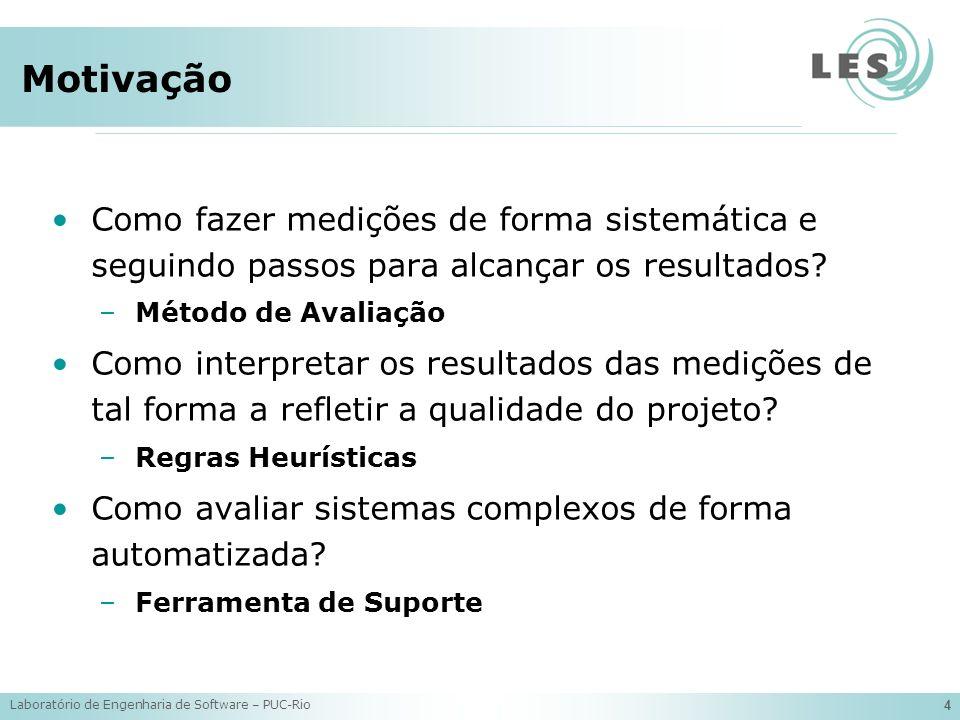 Laboratório de Engenharia de Software – PUC-Rio 15 Regras Heurísticas R01: if CDLOC is 2 then MODULAR CONCERN R02: if CDLOC is bigger than 2 then (POSSIBLE) TANGLED CONCERN Concern (Possible) Tangled Concern R01R02 Modular Concern