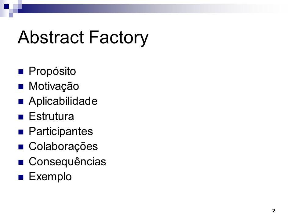 2 Abstract Factory Propósito Motivação Aplicabilidade Estrutura Participantes Colaborações Consequências Exemplo