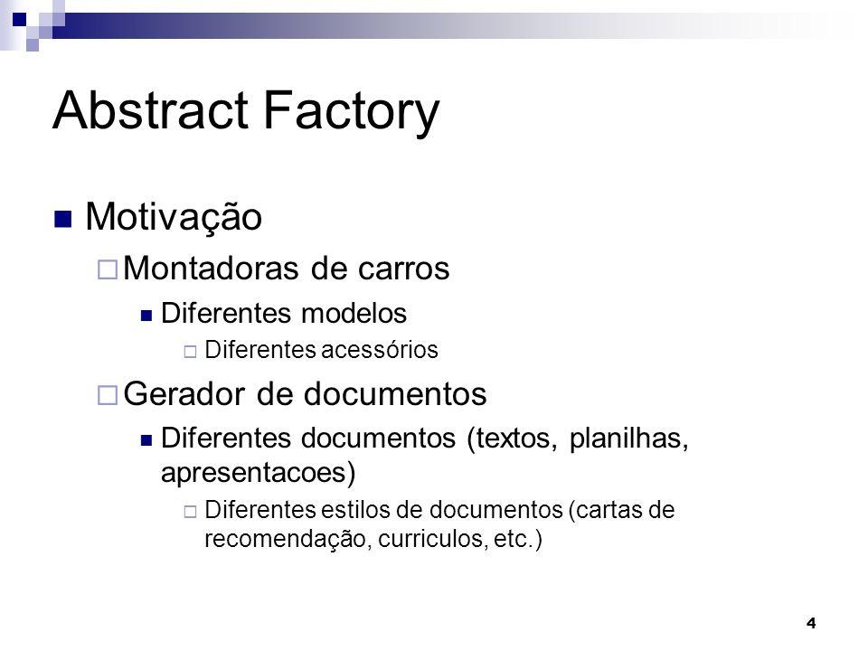 4 Abstract Factory Motivação Montadoras de carros Diferentes modelos Diferentes acessórios Gerador de documentos Diferentes documentos (textos, planil