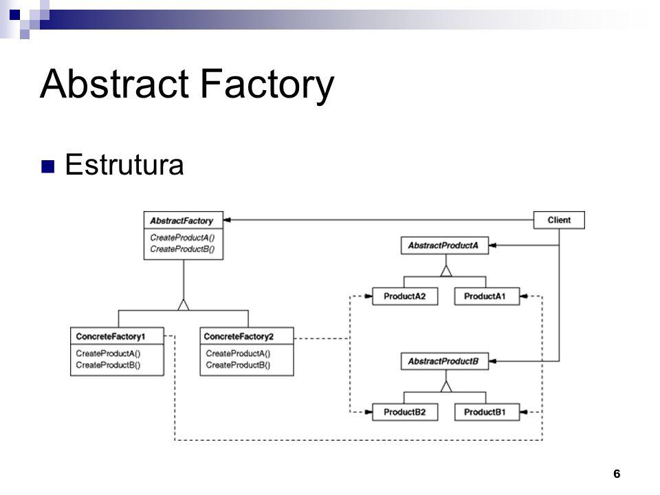 7 Abstract Factory Participantes AbstractFactory: Declara uma interface para a criação de objetos abstratos.