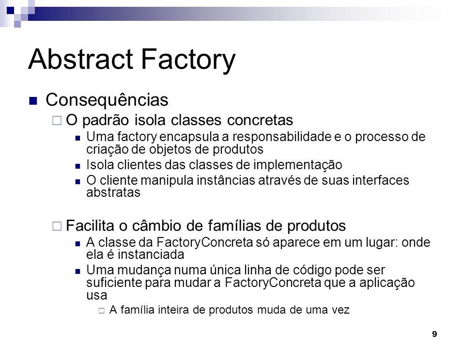 9 Abstract Factory Consequências O padrão isola classes concretas Uma factory encapsula a responsabilidade e o processo de criação de objetos de produ