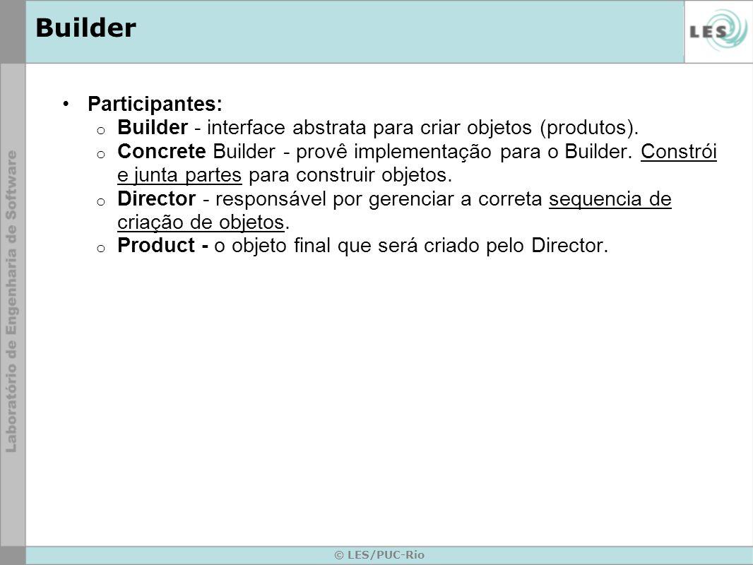 © LES/PUC-Rio Builder Participantes: o Builder - interface abstrata para criar objetos (produtos). o Concrete Builder - provê implementação para o Bui