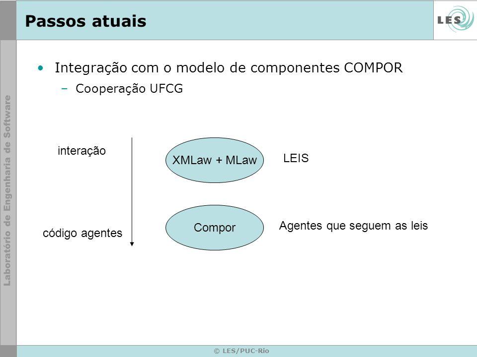 © LES/PUC-Rio Passos atuais Integração com o modelo de componentes COMPOR –Cooperação UFCG XMLaw + MLaw LEIS Agentes que seguem as leis Compor interação código agentes