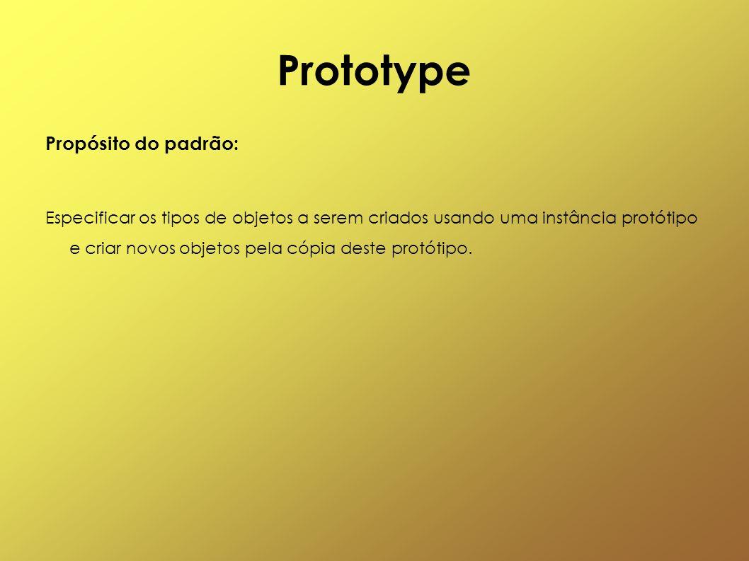 Prototype Propósito do padrão: Especificar os tipos de objetos a serem criados usando uma instância protótipo e criar novos objetos pela cópia deste p