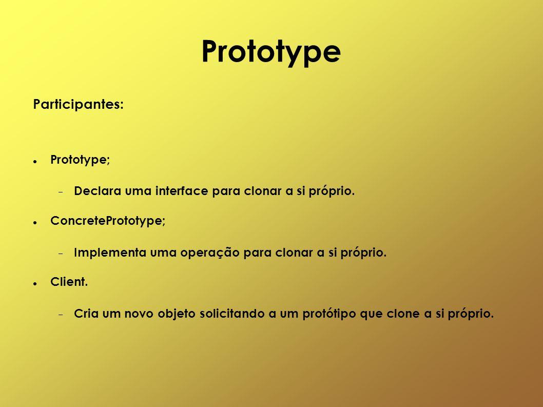 Prototype Participantes: Prototype; Declara uma interface para clonar a si próprio. ConcretePrototype; Implementa uma operação para clonar a si própri