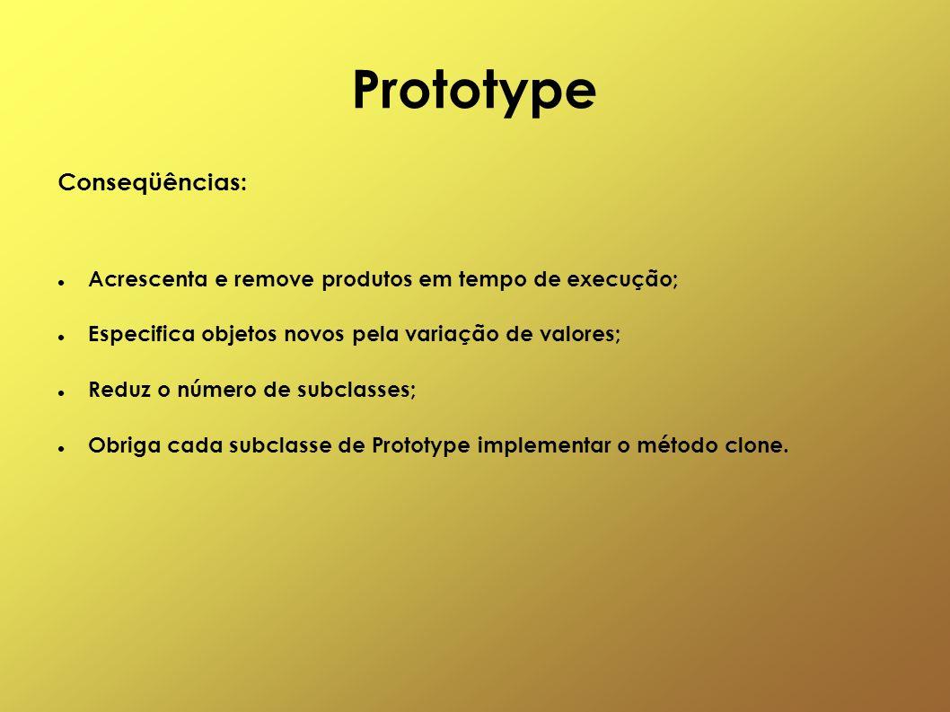 Prototype Conseqüências: Acrescenta e remove produtos em tempo de execução; Especifica objetos novos pela variação de valores; Reduz o número de subcl