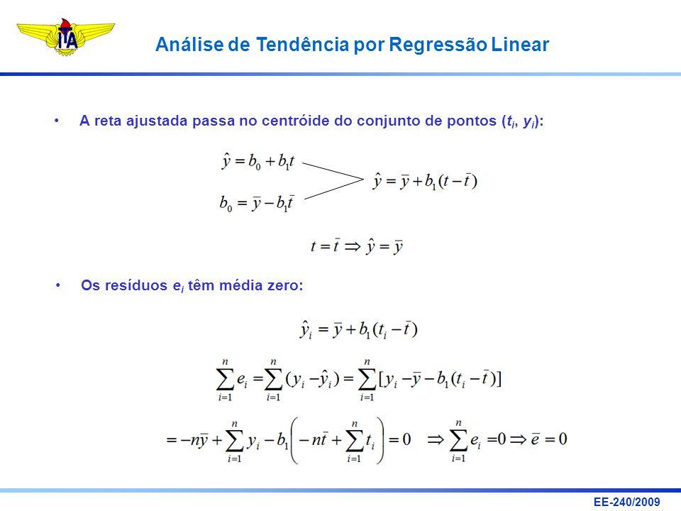 EE-240/2009 Análise de Tendência por Regressão Linear A reta ajustada passa no centróide do conjunto de pontos (t i, y i ): Os resíduos e i têm média