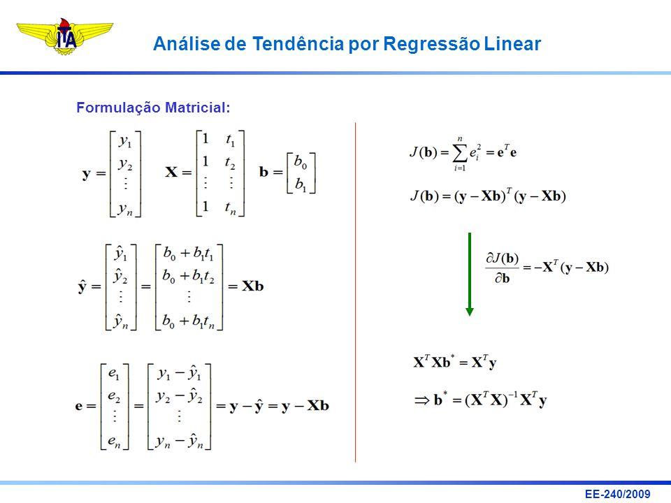 EE-240/2009 Análise de Tendência por Regressão Linear Formulação Matricial: