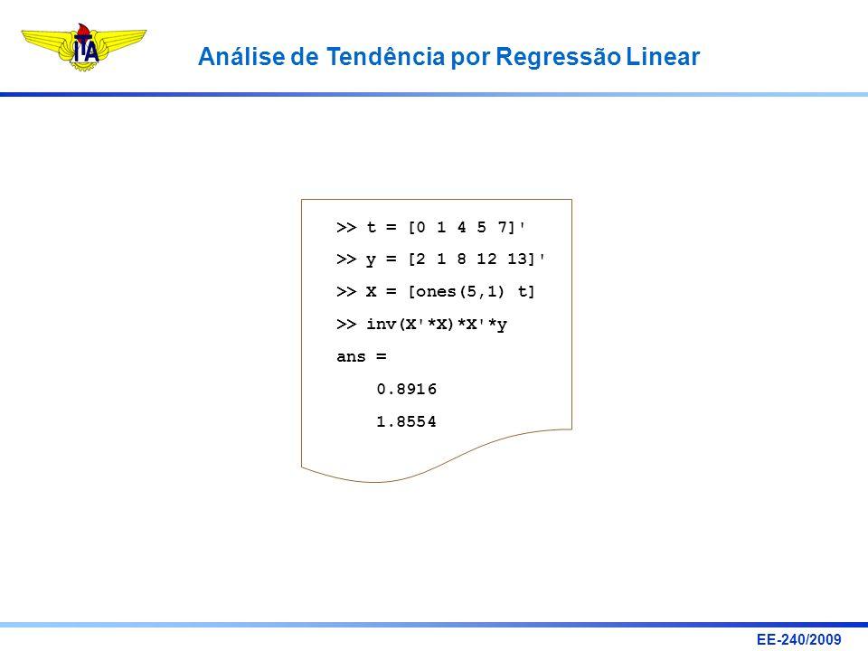 EE-240/2009 Análise de Tendência por Regressão Linear >> t = [0 1 4 5 7]' >> y = [2 1 8 12 13]' >> X = [ones(5,1) t] >> inv(X'*X)*X'*y ans = 0.8916 1.