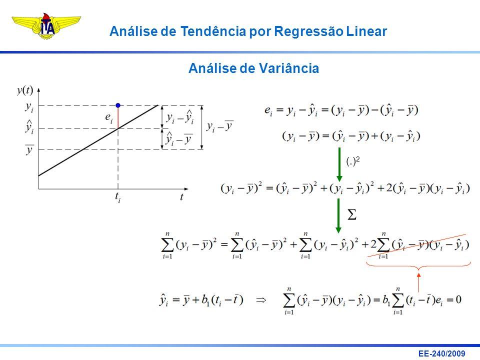 EE-240/2009 Análise de Tendência por Regressão Linear Análise de Variância (.) 2