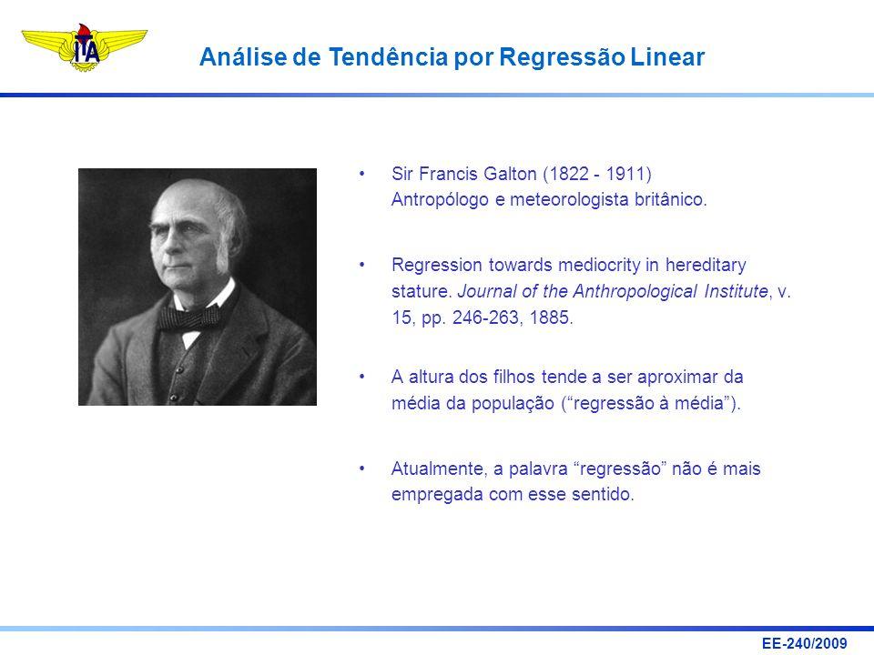 EE-240/2009 Análise de Tendência por Regressão Linear Sir Francis Galton (1822 - 1911) Antropólogo e meteorologista britânico. Regression towards medi