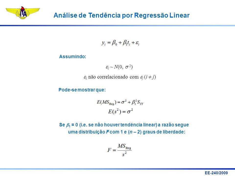 EE-240/2009 Análise de Tendência por Regressão Linear i ~ N(0, 2 ) i não correlacionado com j (i j) Pode-se mostrar que: Assumindo: Se 1 = 0 (i.e. se