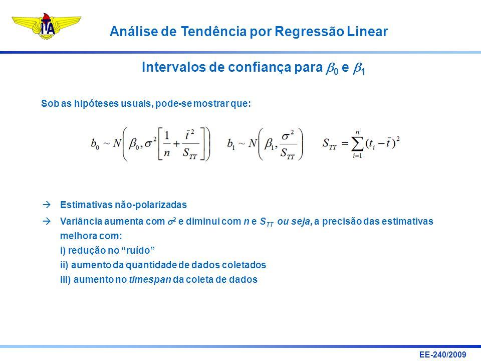 EE-240/2009 Análise de Tendência por Regressão Linear Intervalos de confiança para 0 e 1 Sob as hipóteses usuais, pode-se mostrar que: Estimativas não
