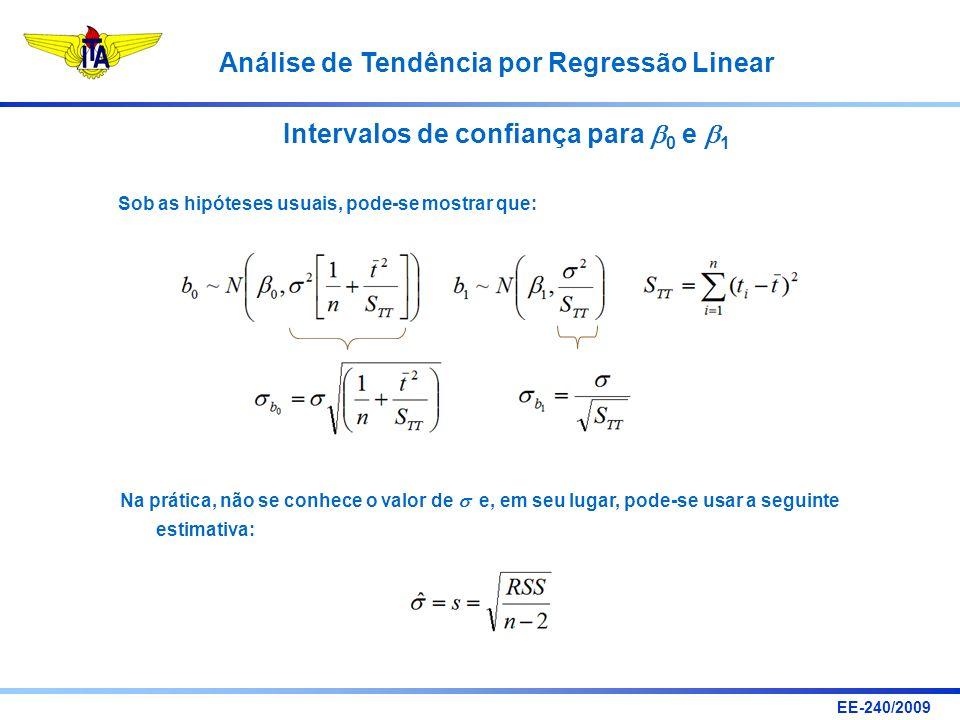 EE-240/2009 Análise de Tendência por Regressão Linear Intervalos de confiança para 0 e 1 Sob as hipóteses usuais, pode-se mostrar que: Na prática, não