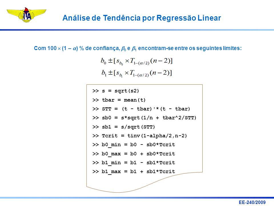 EE-240/2009 Análise de Tendência por Regressão Linear Com 100 (1 – ) % de confiança, 0 e 1 encontram-se entre os seguintes limites: >> s = sqrt(s2) >>