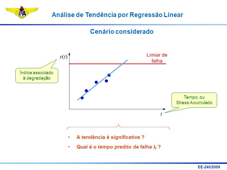 EE-240/2009 Análise de Tendência por Regressão Linear Cenário considerado A tendência é significativa ? Qual é o tempo predito de falha t f ? Índice a