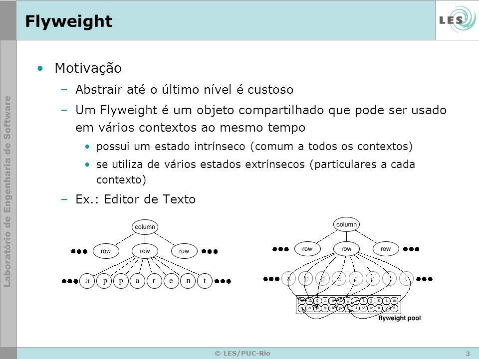 3 © LES/PUC-Rio Flyweight Motivação –Abstrair até o último nível é custoso –Um Flyweight é um objeto compartilhado que pode ser usado em vários contex