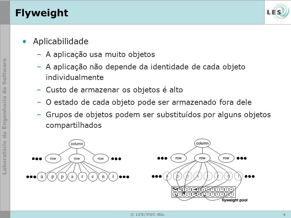 4 © LES/PUC-Rio Flyweight Aplicabilidade –A aplicação usa muito objetos –A aplicação não depende da identidade de cada objeto individualmente –Custo d
