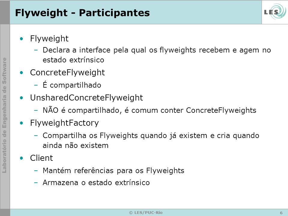 6 © LES/PUC-Rio Flyweight - Participantes Flyweight –Declara a interface pela qual os flyweights recebem e agem no estado extrínsico ConcreteFlyweight