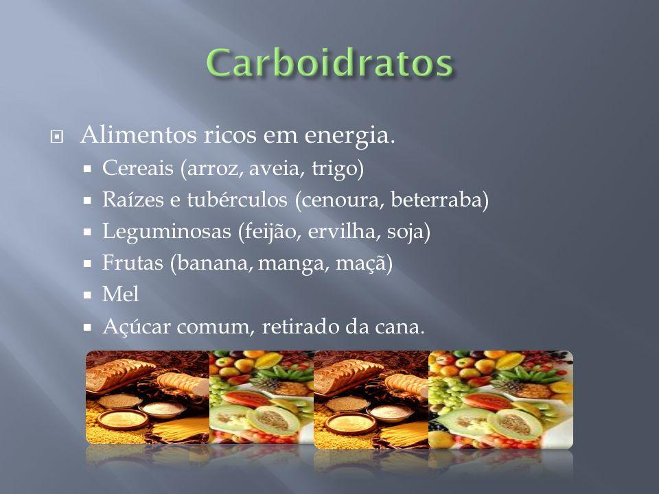 Alimentos ricos em energia. Cereais (arroz, aveia, trigo) Raízes e tubérculos (cenoura, beterraba) Leguminosas (feijão, ervilha, soja) Frutas (banana,