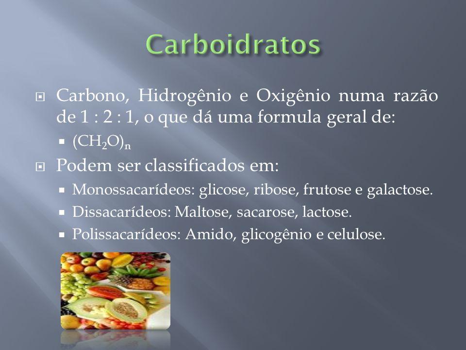 Carbono, Hidrogênio e Oxigênio numa razão de 1 : 2 : 1, o que dá uma formula geral de: (CH 2 O) n Podem ser classificados em: Monossacarídeos: glicose