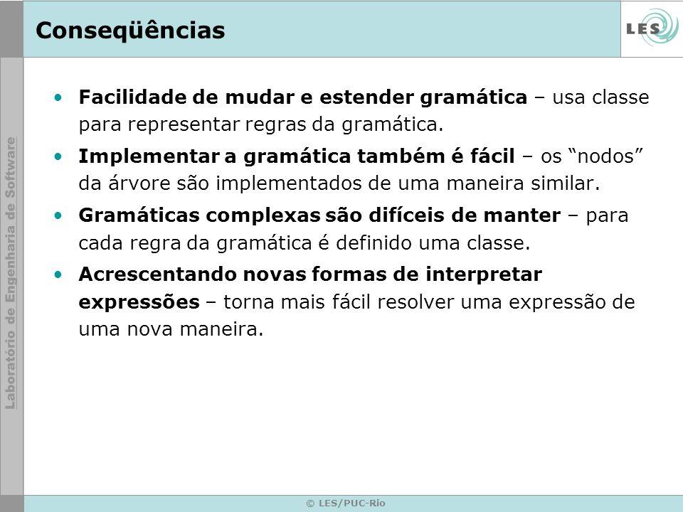 © LES/PUC-Rio Conseqüências Facilidade de mudar e estender gramática – usa classe para representar regras da gramática. Implementar a gramática também