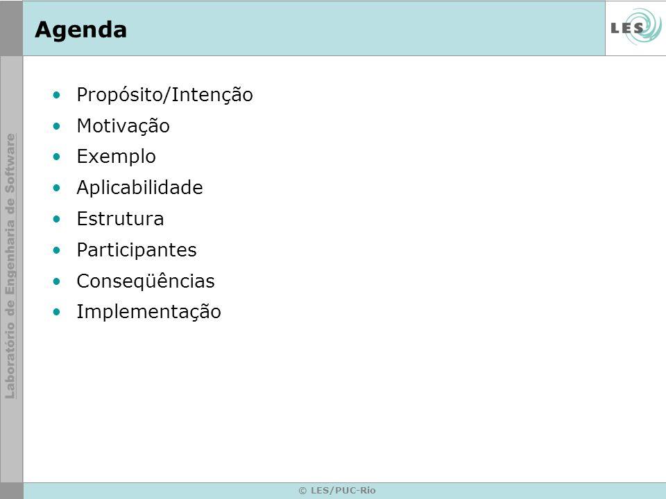 © LES/PUC-Rio Agenda Propósito/Intenção Motivação Exemplo Aplicabilidade Estrutura Participantes Conseqüências Implementação