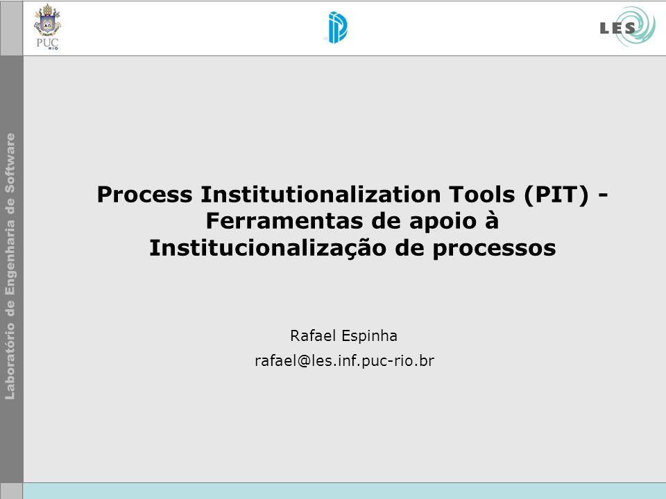 Process Institutionalization Tools (PIT) - Ferramentas de apoio à Institucionalização de processos Rafael Espinha rafael@les.inf.puc-rio.br