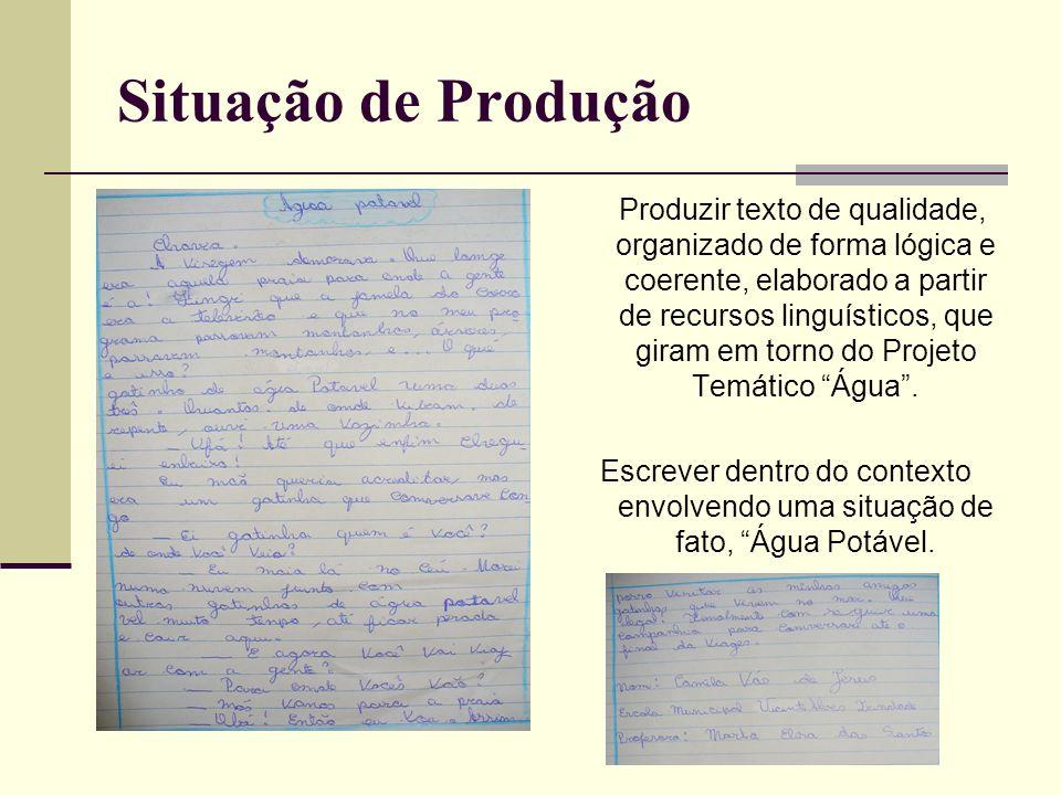 Situação de Produção Produzir texto de qualidade, organizado de forma lógica e coerente, elaborado a partir de recursos linguísticos, que giram em tor