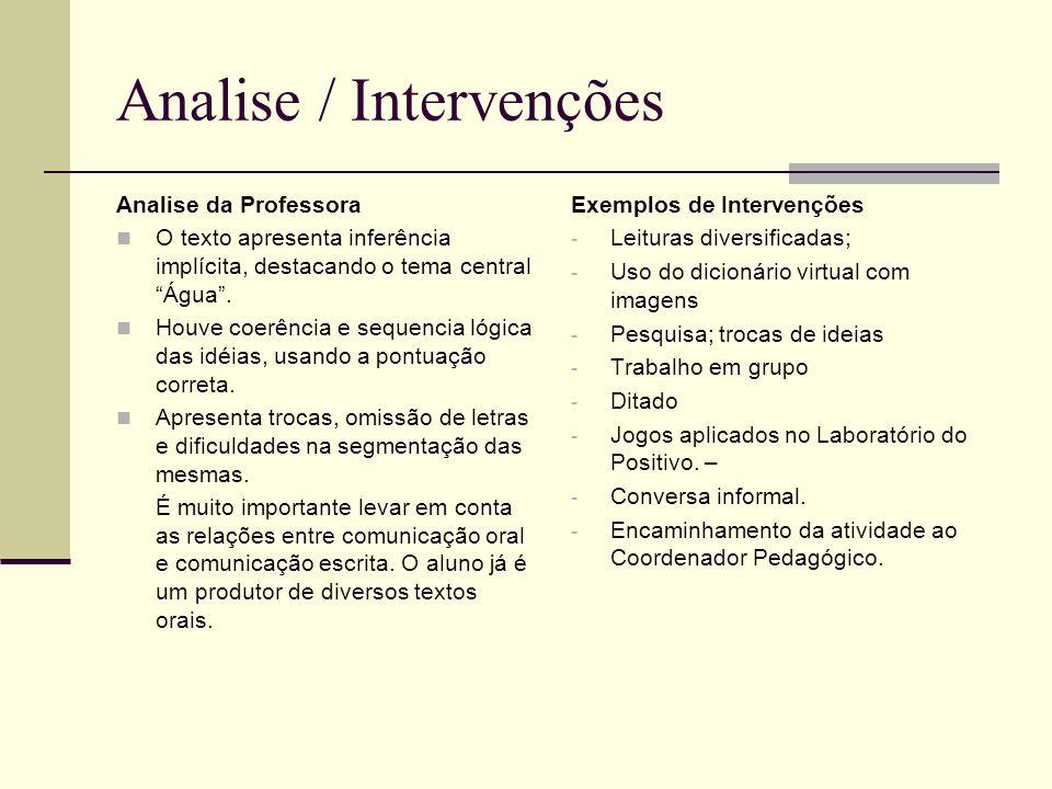 Analise / Intervenções Analise da Professora O texto apresenta inferência implícita, destacando o tema central Água. Houve coerência e sequencia lógic