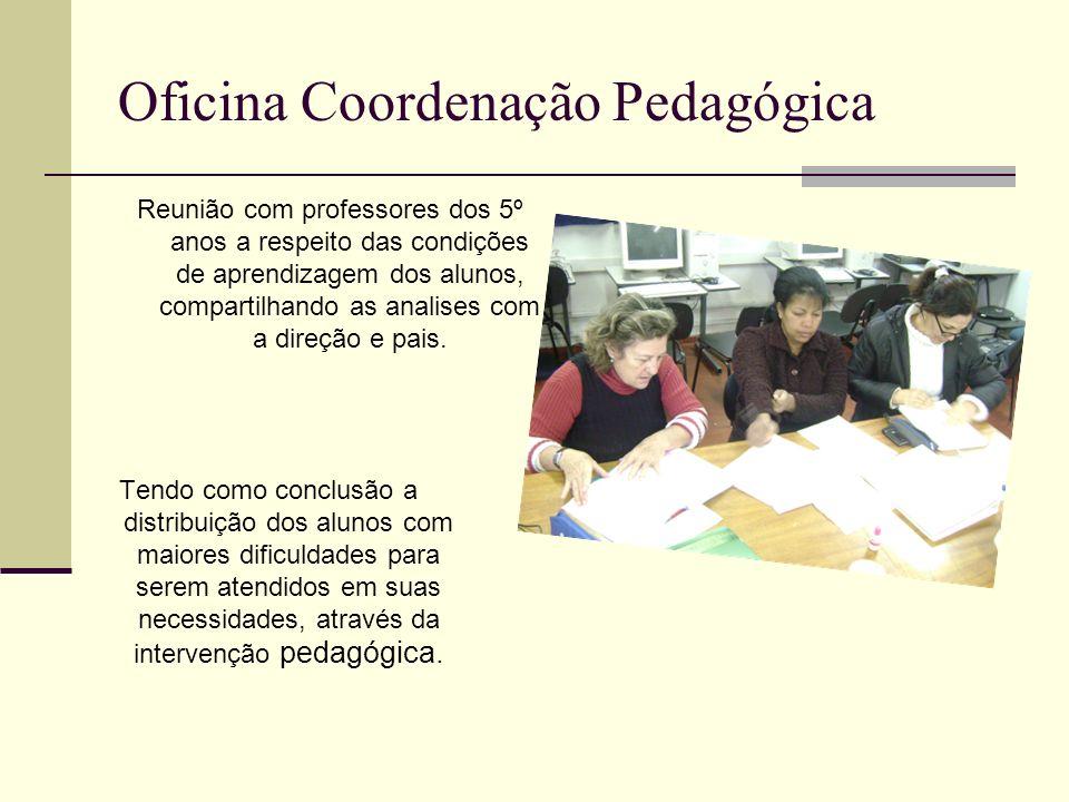 Oficina Coordenação Pedagógica Reunião com professores dos 5º anos a respeito das condições de aprendizagem dos alunos, compartilhando as analises com