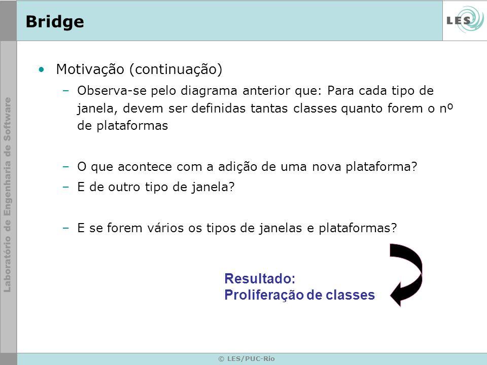 © LES/PUC-Rio Bridge Motivação (continuação) –Observa-se pelo diagrama anterior que: Para cada tipo de janela, devem ser definidas tantas classes quan