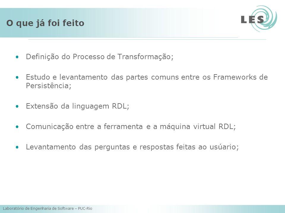 Laboratório de Engenharia de Software – PUC-Rio O que já foi feito Definição do Processo de Transformação; Estudo e levantamento das partes comuns entre os Frameworks de Persistência; Extensão da linguagem RDL; Comunicação entre a ferramenta e a máquina virtual RDL; Levantamento das perguntas e respostas feitas ao usúario;