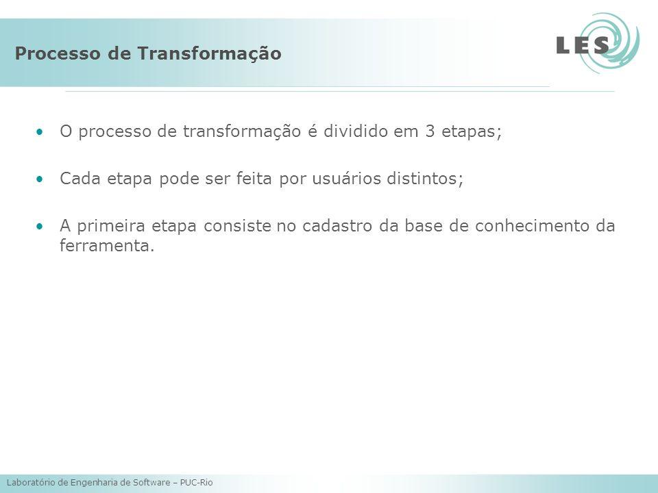 Laboratório de Engenharia de Software – PUC-Rio Processo de Transformação O processo de transformação é dividido em 3 etapas; Cada etapa pode ser feita por usuários distintos; A primeira etapa consiste no cadastro da base de conhecimento da ferramenta.
