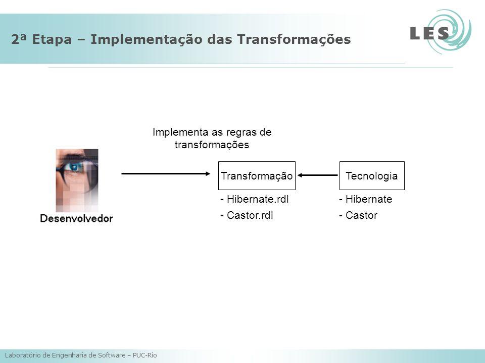 Laboratório de Engenharia de Software – PUC-Rio 2ª Etapa – Implementação das Transformações Tecnologia - Hibernate - Castor Transformação - Hibernate.rdl - Castor.rdl Implementa as regras de transformações