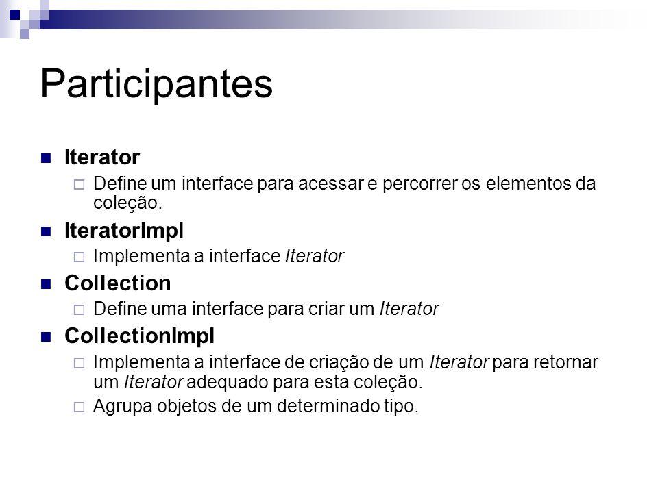 Participantes Iterator Define um interface para acessar e percorrer os elementos da coleção. IteratorImpl Implementa a interface Iterator Collection D