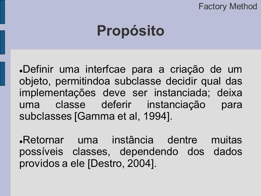 Propósito Definir uma interfcae para a criação de um objeto, permitindoa subclasse decidir qual das implementações deve ser instanciada; deixa uma classe deferir instanciação para subclasses [Gamma et al, 1994].