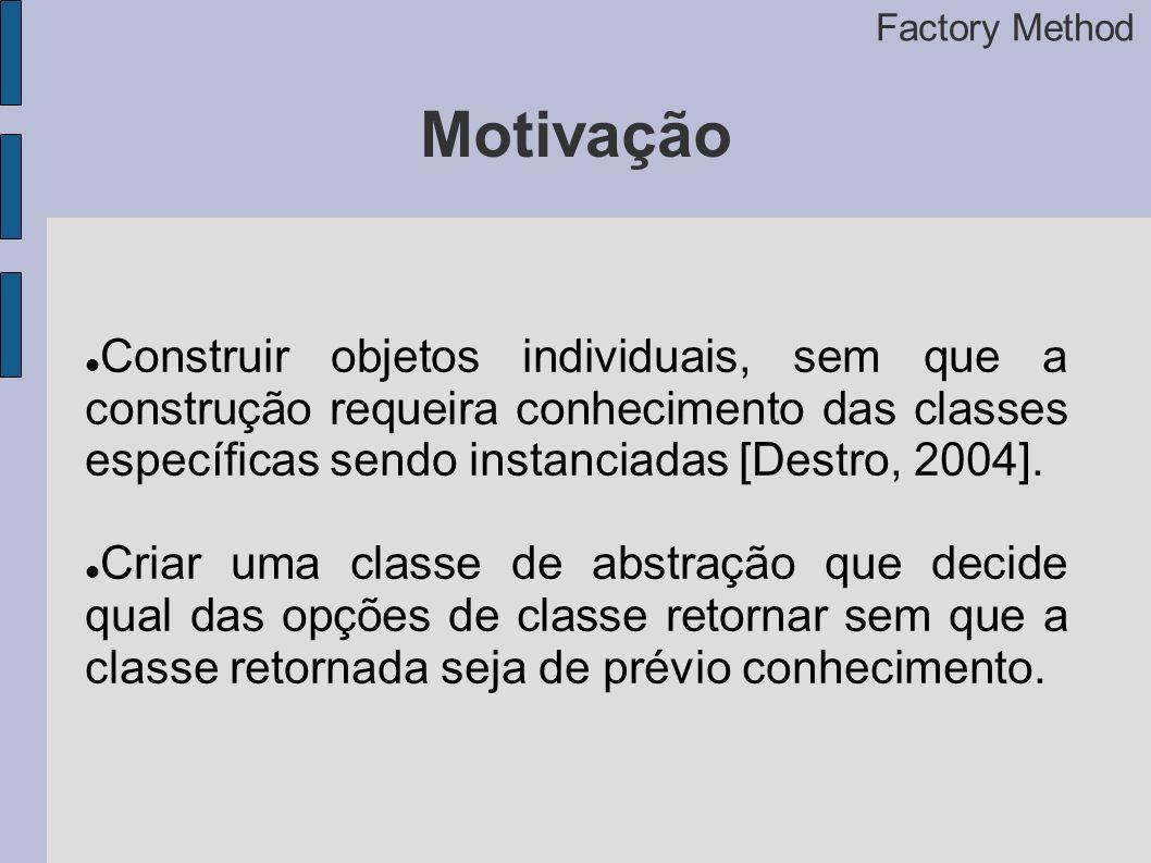 Motivação Construir objetos individuais, sem que a construção requeira conhecimento das classes específicas sendo instanciadas [Destro, 2004].