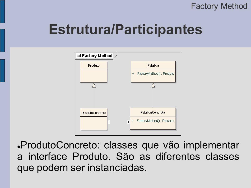 Estrutura/Participantes Factory Method ProdutoConcreto: classes que vão implementar a interface Produto.