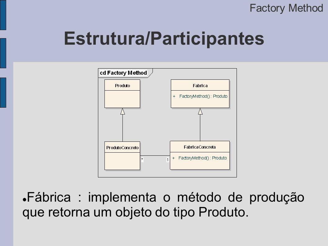 Estrutura/Participantes Factory Method Fábrica : implementa o método de produção que retorna um objeto do tipo Produto.